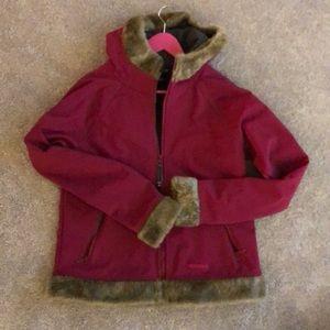 Marmot jacket. Fuchsia. fur cuffs and hood. Size L